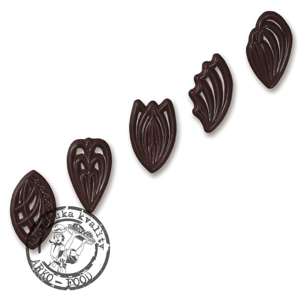 Čokoládové filigrány Feathers, výška 54mm (pírko) 50 ks/bal (65g)
