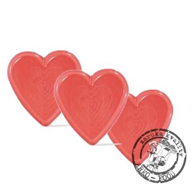 SRDCE červené (průměr 35mm) čokoládová dekorace - 50ks