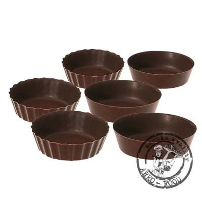 Košíček čokoládový (tmavý) Petit Fours prům.5, v.1,8cm (2 tvary) 60 ks/bal (325g)