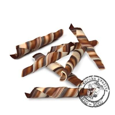 Čokoládové tyčinky Rolls Twister Marble 5-5,5cm (hořko-mléčno-bílé) 1 kg/bal