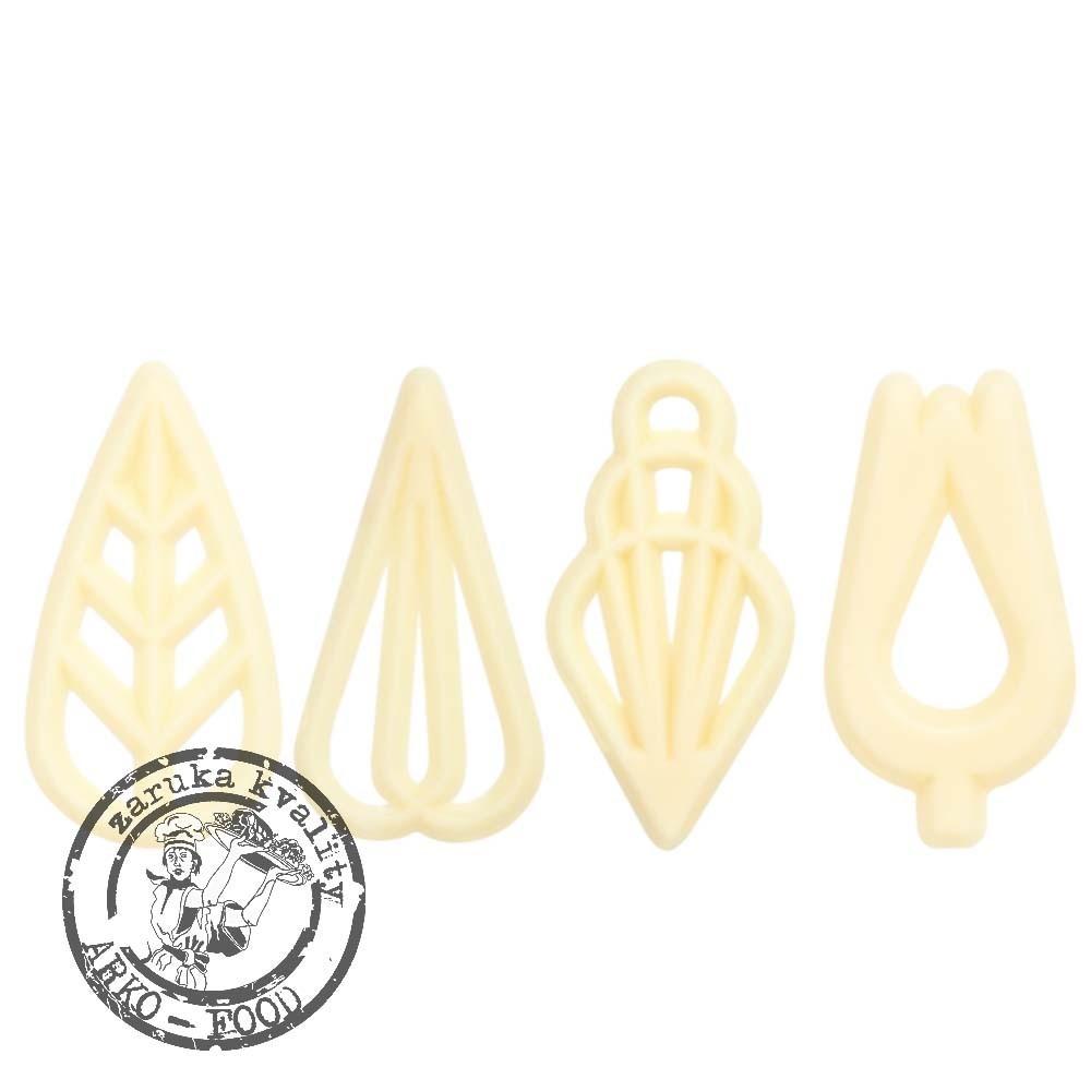 Čokoládové filigrány (bílé) Soire,v.4cm (4 tvary) 50 ks/bal (40g)