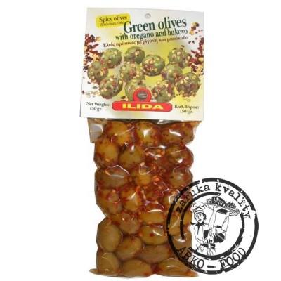 Olivy zelené s bukovem (paprikou) a oregánem 150 g