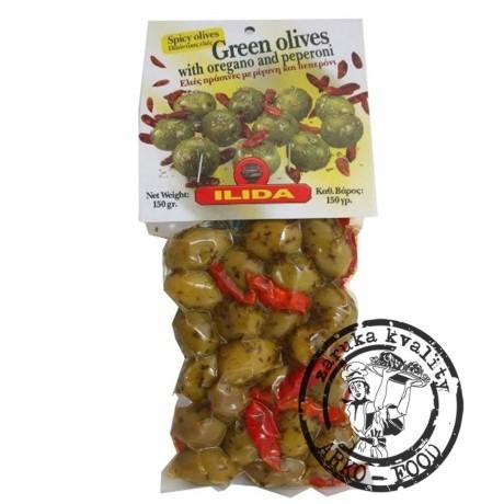 Olivy zelené s chilli papričkou 150 g