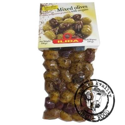 Olivy mix zelených a černých oliv Kalamata s oregánem 150 g