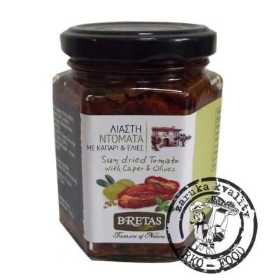 Plátky sušených rajčat s olivami a kaparami