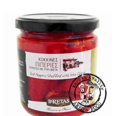 Červené špičaté papriky plněné Fetou, v oleji s bylinkami 360 g