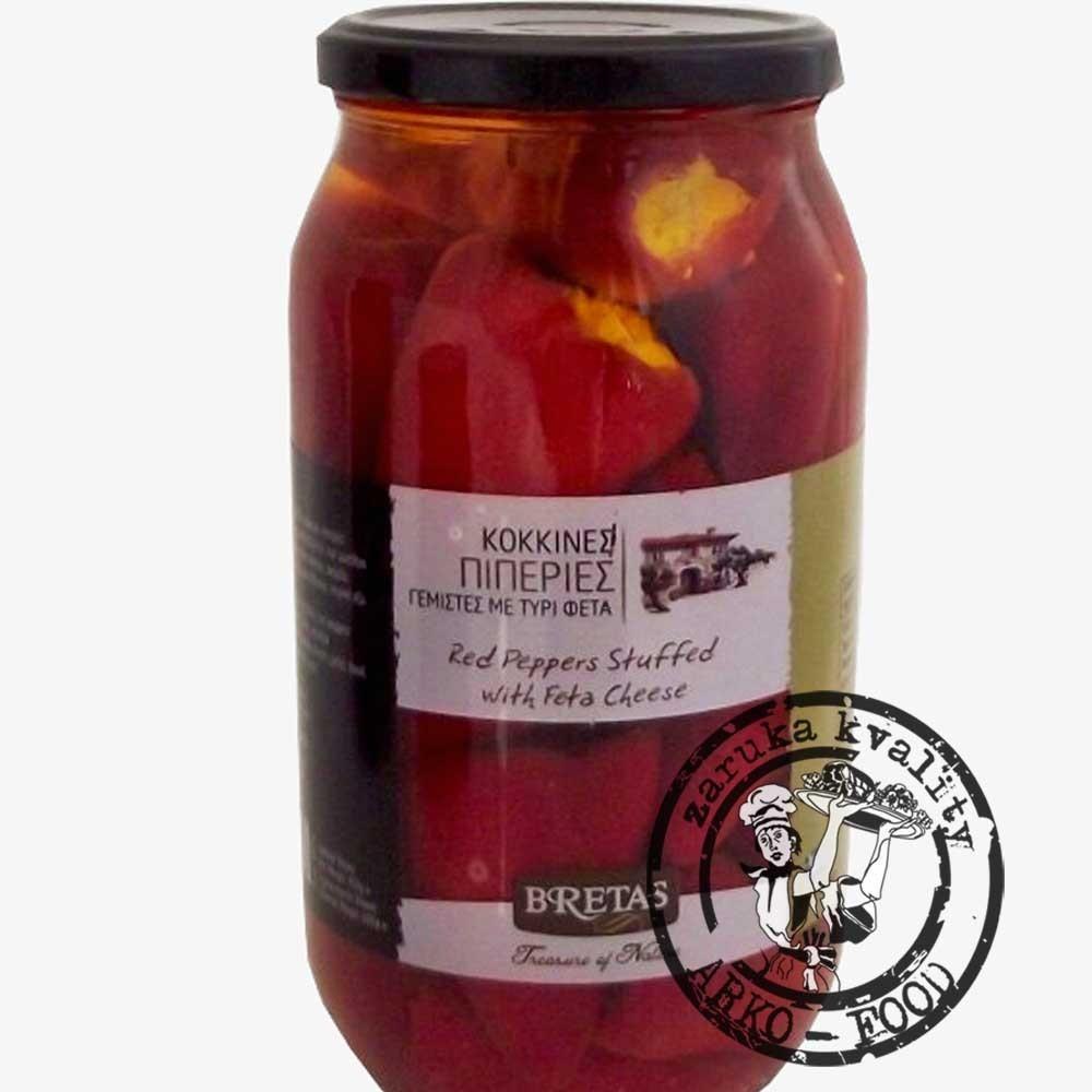 Červené špičaté papriky plněné Fetou, v oleji s bylinkami 950 g