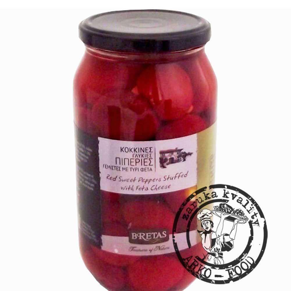 Červené kulaté papriky plněné Fetou, v oleji s bylinkami 950 g