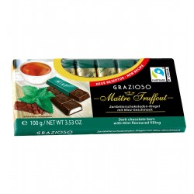Grazioso Hořké čokoládové tyčinky plněné mátovou náplní 100g