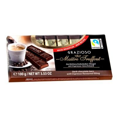 Grazioso tmavá čokoláda s náplní ochucenou espressem 100g
