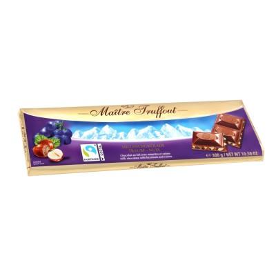 Mléčná čokoláda s rozinkami a ořechy 300g Maitre