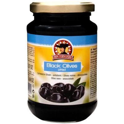 Černé olivy vypeckované 350g Don Fernando, sklo
