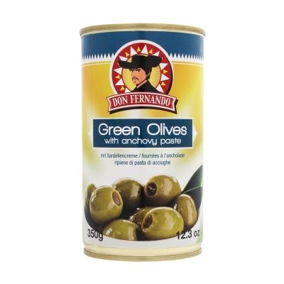 Zelené olivy plněné sardelovou pastou 350g Don Fernando, plech