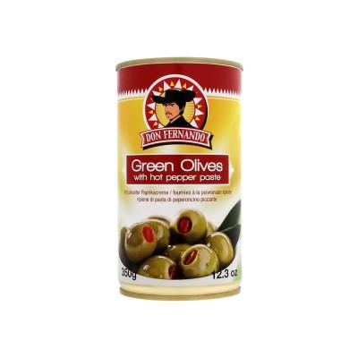 Zelené olivy plněné pikantním paprikovým krémem 350g Don Fernando, plech