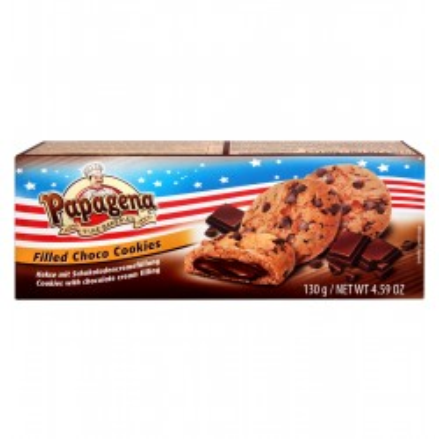 Choco Chip cookies s čokoládovou krémovou náplní 130g Papagena