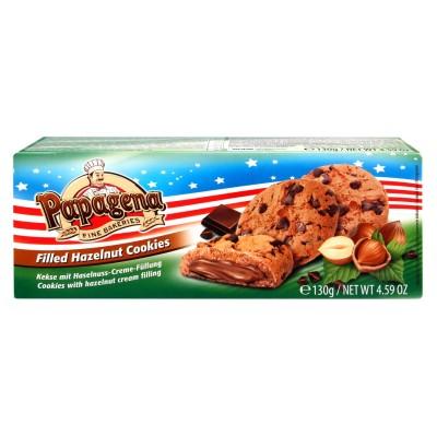 Choco Chip cookies s lískooříškovou krémovou náplní 130g Papagena