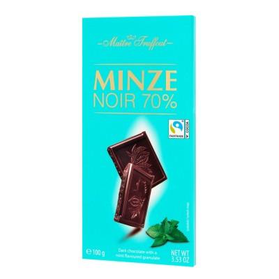 Hořká čokoláda 70% s mátovou příchutí 100g Maitre