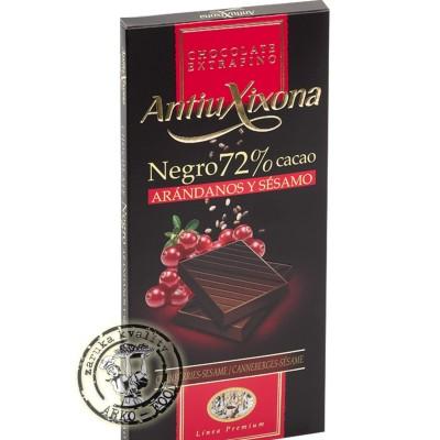 AX - Hořká čokoláda s brusinkami a sezamem 100g - 72 % kakaa