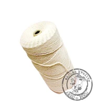 Provázek lněný č. 4 bílý  125 g leštěný