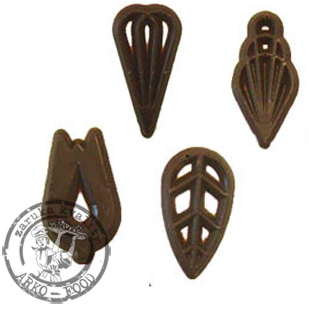 Čokoládové filigrány (hořké) Soire,v.4cm (4 tvary) 50 ks/bal (40g)